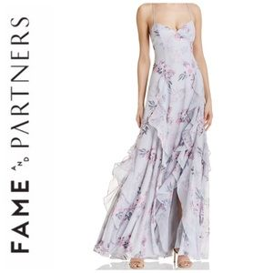 Fame & Partners Ruffles Floral Gown